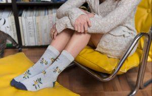girl wearing comfortable floral socks