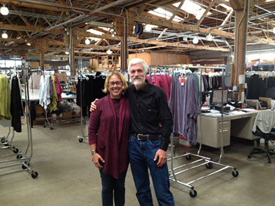 Paloma owners Mike Roach and Kim Osgood visiting the Cutloose factory